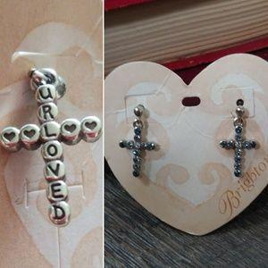 Blue Rhinestone Cross Earrings With Love Message